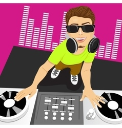 male disc jockey mixing music using his turntables vector image