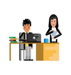 asian man working at laptop vector image