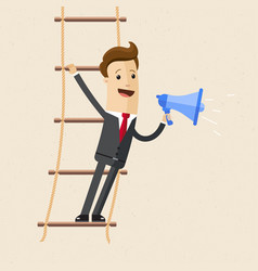 businessman stand s on rope ladder and speak vector image