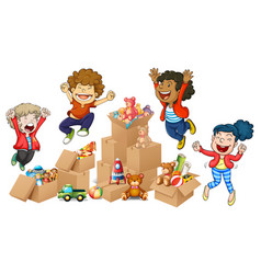 children and boxes of toys vector image vector image