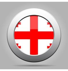 Flag of Georgia Shiny metal gray round button vector image vector image