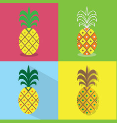 pineapple icons set - different styles of vector image vector image