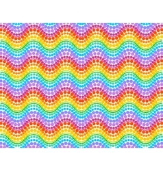 Rainbow colors dotted waves seamless pattern vector image