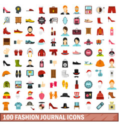 100 fashion journal icons set flat style vector image vector image