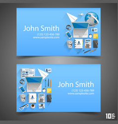 Flat icons on cards vector