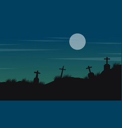 halloween landscape with grave and moon vector image vector image