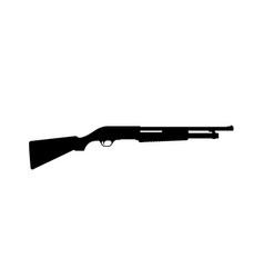 black silhouette of shotgun on white background vector image