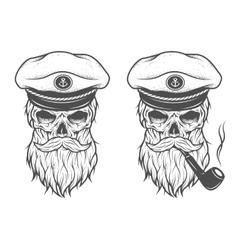 Captain skull two options vector