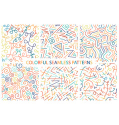 collection of colorful hand drawn seamless vector image vector image