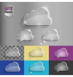 Collection of glass speech bubble cloud icons with vector image vector image