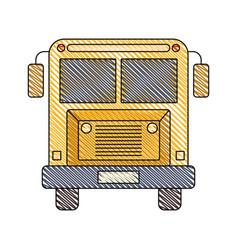 color crayon stripe image of front view school bus vector image vector image