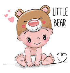 cute cartoon baby boy in a bear hat vector image vector image