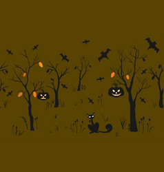 cute halloween poster with pumpkins cat trees and vector image