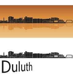 Duluth skyline in orange background vector image vector image