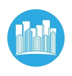 emblem buildings and city scene line sticker vector image vector image