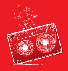 Hand drawn love cassette tape vector image vector image