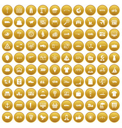 100 logistic and delivery icons set gold vector
