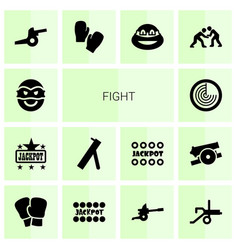 14 fight icons vector