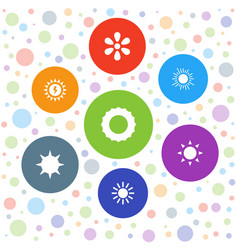 7 sunlight icons vector image