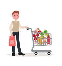 A man with a shopping basket vector