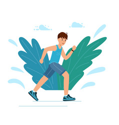 a young guy runs in park during training man vector image