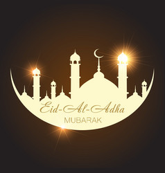 Aid al adha greeting card template with mosque vector