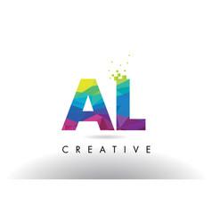 al a l colorful letter origami triangles design vector image