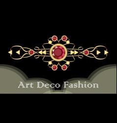 Art deco ruby brooch filigree golden jewel in vector