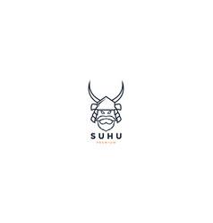 asian japanese samurai with beard logo icon vector image