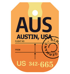 Austin airport luggage tag vector