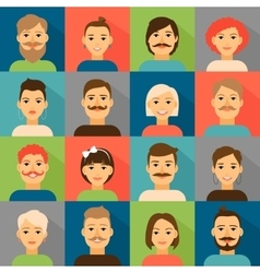 Avatar app icons User hipster face set vector