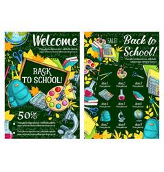 Back to school sketch chalkboard poster vector