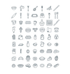 baking tools ingredients pastry items line icons vector image