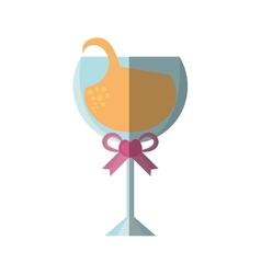 Beautiful cup glass wine with ribbon icon vector