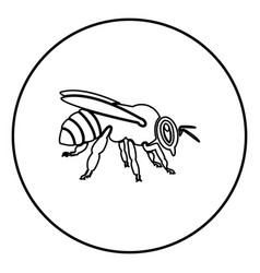 Bee icon black color in circle round vector