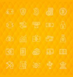 Bitcoin line icons vector
