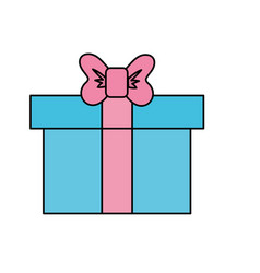 Box of present gift with ribbon design vector