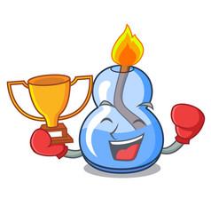 Boxing winner alcohol burner mascot cartoon vector
