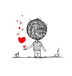 Boy with red heart valentine card sketch for your vector image