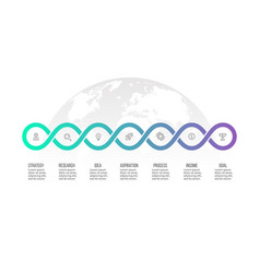 Business infographics timeline with 7 steps vector