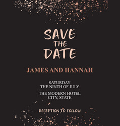 calligraphy invitation with gold splashes on vector image