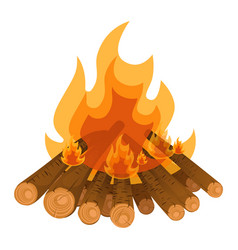 Camping bonfire from tree trunks vector