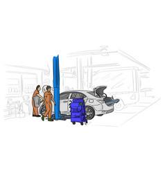 car mechanic working in auto repair service vector image