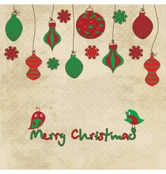 card with Christmas balls and toys on vintage vector image