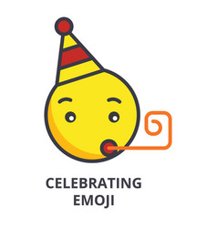 celebrating emoji line icon sign vector image