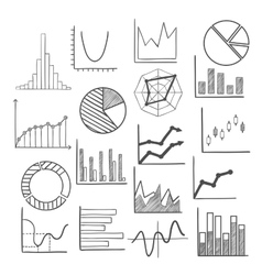 Charts bars and graphs icons sketches vector