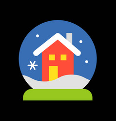 christmas house snow globe merry filled vector image