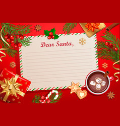 christmas template for letter to santa claus vector image