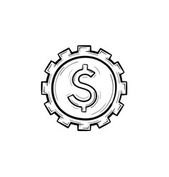 cog with dollar inside hand drawn outline doodle vector image