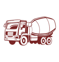 Concrete mixer truck vector